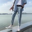 男士牛仔褲春秋款韓版潮流寬鬆直筒夏季九分長褲潮牌修身小腳褲子 設計師