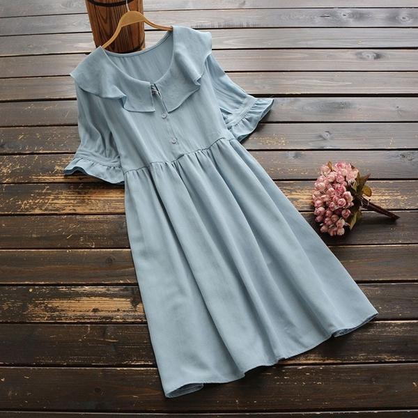 東京奈奈日系森林系棉麻荷葉領短袖甜美洋裝[j73446]