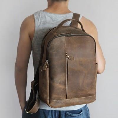 後背包-真皮旅行休閒大容量瘋馬皮男雙肩包3色73ne6【巴黎精品】