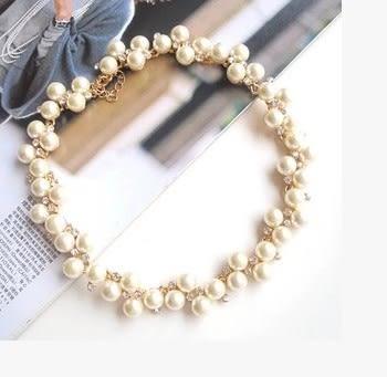 [協貿國際]  新娘珍珠結婚鎖骨鏈金色項鍊 (1入)