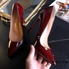 時尚超高跟鞋女細跟尖頭淺口漆皮OL女鞋大碼鞋【時尚大衣櫥】