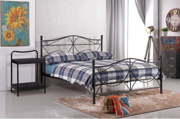 【森可家居】安德魯黑色鐵床床頭櫃 7JX82-3 床邊架 北歐工業風