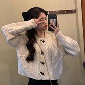 針織外套 秋季日系古著針織毛衣開衫冬天外套女寬鬆百搭短款上衣-Milano米蘭