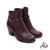 A.S.O 優雅美型 全真皮金屬鏈條圓楦短靴  咖啡