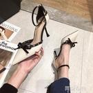 細跟高跟涼鞋 春季新款時尚鉚釘蝴蝶結高跟鞋女鞋細跟性感百搭一字扣帶涼鞋 阿薩布魯