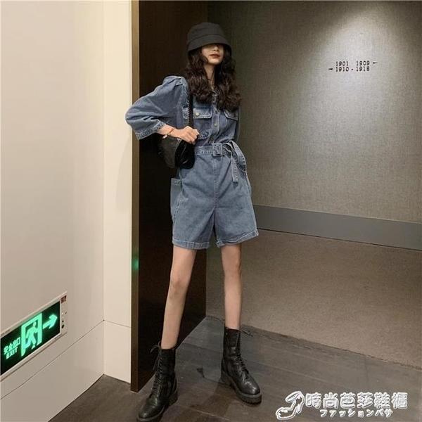 韓版高腰工裝牛仔連身熱褲女新款夏寬鬆顯瘦直筒褲子闊腿短褲 聖誕節全館免運