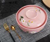 聖誕狂歡大湯碗湯盆陶瓷日式家用創意大號可微波爐帶蓋泡面碗餐具湯鍋【櫻花本鋪】