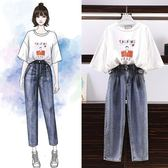 短袖褲裝 韓版 中大尺碼 寬鬆牛仔褲+T恤 套裝 花漾小姐【預購】