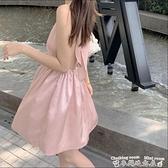 緞面洋裝三亞度假小心機露背掛脖連身裙女夏季新款緞面收腰氣質吊帶裙短裙 迷你屋 新品