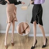 包臀半身裙S-3XL1100撞色荷葉邊魚尾裙彈力半身裙女包臀裙中長款裙子D734快時尚