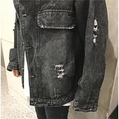 黑色牛仔外套女生早秋韓版顯瘦學生寬鬆破洞潮夾克褂子上衣 - 風尚3C