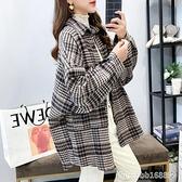 外套 加厚磨毛格子襯衫女秋冬年新款寬鬆大碼復古港味冬季外套 瑪麗蘇