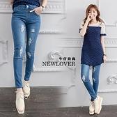 鬆緊刷破窄管褲NEWLOVER牛仔時尚【166-6974】韓版輕時尚刷破設計窄管褲-S-XL