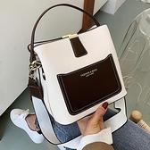 春季撞色小包包2021新款潮時尚手提女包側背斜背百搭高級感水桶包 韓國時尚週