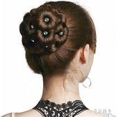假髮丸子頭盤髮器頭花盤頭花苞髮飾鑲鉆九朵花抓夾頭飾丸子頭髮包CC1758『美好時光』