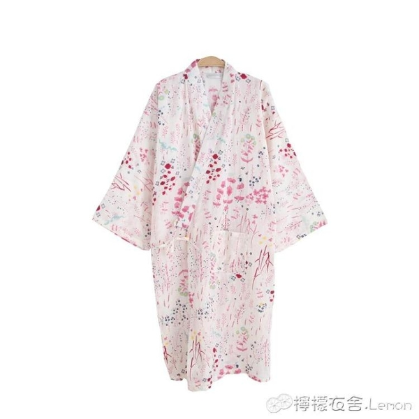 夏薄款純棉紗布睡袍情侶日式男和服浴衣全棉睡衣開衫長睡裙汗蒸服