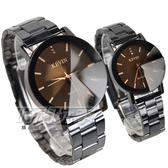 KEVIN 晶鑽時尚情人對錶 立體多角切割鏡面 防水錶 IP黑電鍍 男錶 女錶 KV2068鑽黑大+KV2068鑽黑小