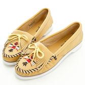 美國正品【MINNETONKA 】卡其色雷鳥牛皮莫卡辛女鞋【 在台24H 寄出】