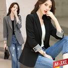 格紋翻捲袖西裝外套(2色) M~3XL【...