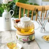 火烈鳥暖心花茶壺茶杯碟陶瓷茶爐家用玻璃茶具套裝WY【快速出貨八折優惠】