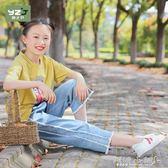 女童長褲 女大童棉直筒牛仔褲新品18韓版顯瘦中大童九分薄款闊腿褲子 傾城小鋪