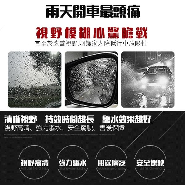 雨刷驅水劑 潑水劑 隱形雨刷 長效型 疏雨膜 玻璃光滑劑 撥水劑 玻璃鍍膜 雨天 車用 汽車 後照鏡