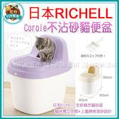 *~寵物FUN城市~*《日本Richell》 Corole 不沾砂貓便盆 (半封閉式貓砂盆,減少貓砂落地發生)