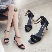細跟低跟鞋  細跟低跟鞋低跟5厘米涼鞋水鑽一字式扣性感根鞋女性感露趾女  ciyo黛雅