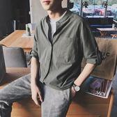 夏季立領七分袖棉麻襯衫韓版寬鬆襯衣