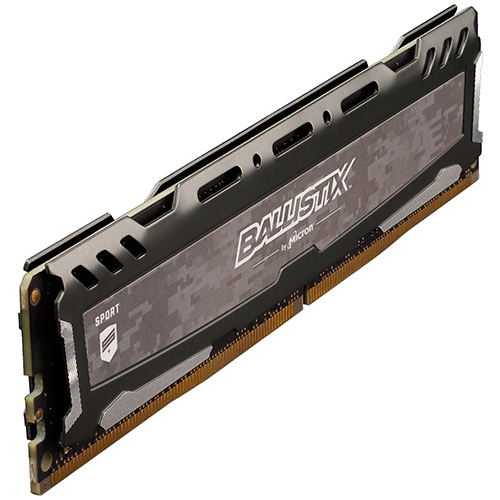 Micron Ballistix Sport LT 競技版 DDR4 3200/8GB RAM 超頻記憶體 灰色散熱片 BLS8G4D32AESBK