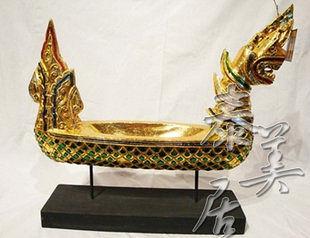 木雕工藝品 東南亞風格 工藝擺件 家裝飾品龍船果盤