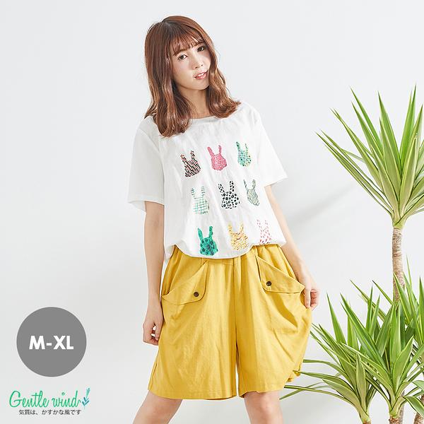 兔子印花棉麻後寬拼接上衣(白)-M-XL【Gentle wind】