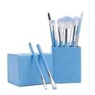 【日本代購】 Amoore 8支化妝筆化妝刷套裝化妝刷套裝化妝刷子帶收納盒 - 淺藍
