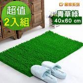 【G+居家】超細纖維長毛止滑吸水地墊 40x60cm-青草綠(2件組)