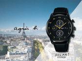 【時間道】agnes b. SOLAR!設計師手寫系列三眼計時腕錶/黑面黑皮(V172-KKC0C/BY6005P1)免運費