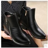 小鄧子媽媽鞋短靴真皮冬季加絨中老年女士棉鞋秋冬鞋子大碼中年女靴粗跟
