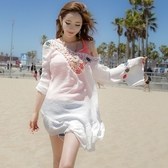 罩衫 針織 鏤空 V領 皺褶 連身裙 沙灘 比基尼 罩衫【ZS387】 BOBI  04/26