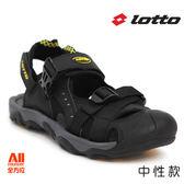 【LOTTO】中性款休閒涼鞋-黑黃(L0180)全方位跑步概念館