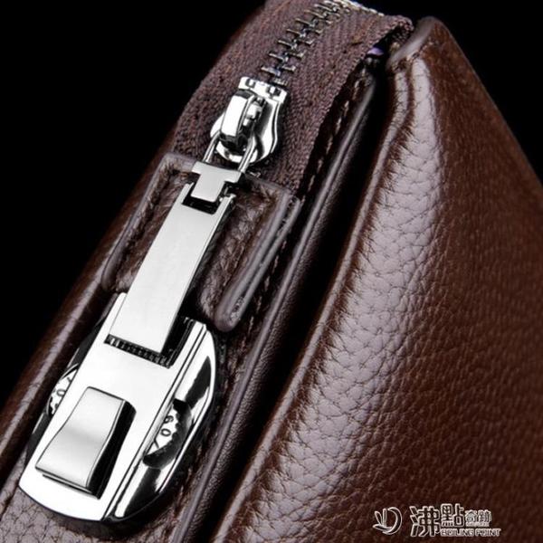 男士手包新款潮手抓包真皮軟皮錢包商務夾包大容量休閑手拿包 沸點奇跡