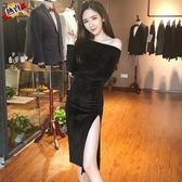 長袖洋裝 夜店女裝性感氣質修身顯瘦一字肩2019新款高開叉晚禮服