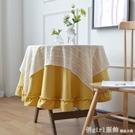 圓形餐桌布家用美式復古花園台布飯店餐廳棉麻圓桌布歐式蕾絲鏤空 618購物節