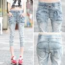 新款七分牛仔褲女夏薄寬鬆小腳破洞學生7分短褲中褲潮八分褲大碼