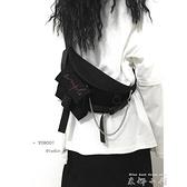 胸包ins中性潮酷暗黑百搭运动胸包斜挎包帆布手机包男女 米娜小鋪