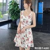 新款甜美碎花洋裝小清新白色碎花薄款小個子吊帶仙女裙短裙 青木鋪子