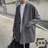 秋季中長款風衣外套夾克大衣春秋衣服英倫風男裝外套【左岸男裝】