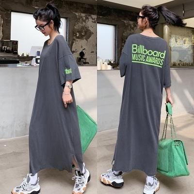 胖妹妹洋裝連身裙~809# 寬松長款短袖t恤裙直筒大碼開叉字母連身裙長裙NC417莎菲娜