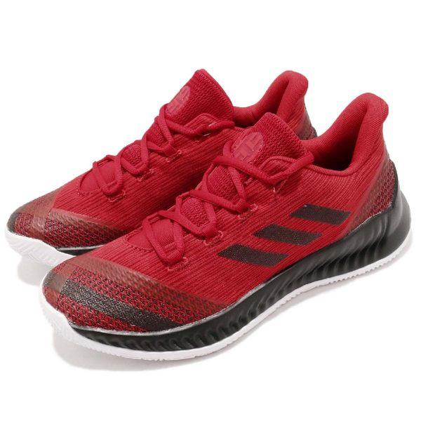 adidas 籃球鞋 Harden B/E 2 J 紅 黑 平民版 低筒 果凍底 舒適緩震 運動鞋 女鞋 大童鞋【PUMP306】 AC7642