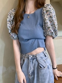 針織上衣 夏季新款法式網紅拼接泡泡短袖薄款冰絲針織衫女設計感短款上衣潮 韓國時尚週
