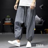 中國風哈倫褲男寬鬆透氣低檔短褲胖子加肥加大碼束腳褲9九分休閒褲 LR7532【原創風館】