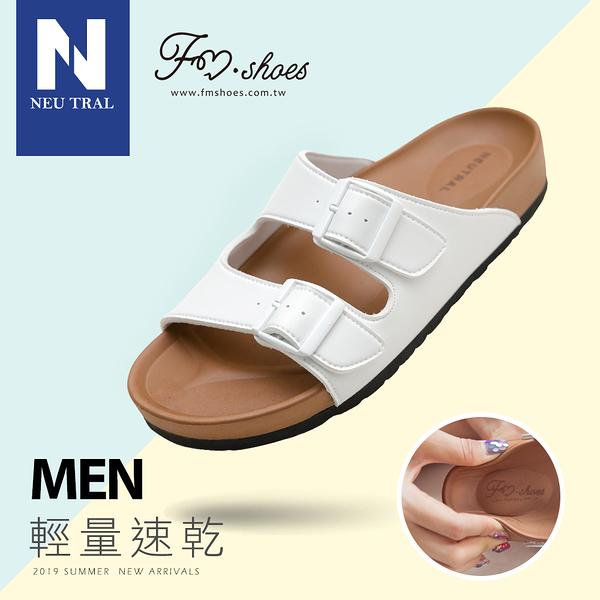 拖鞋.雙帶輕量減壓休閒拖鞋-白-MEN-FM時尚美鞋-NeuTral.Renew